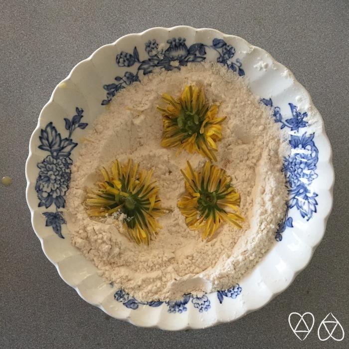 Dandelion in flour